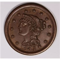1853 LARGE CENT BEAUTIFUL COLOR CH BROWN UNC. 1853 LARGE CENT BEAUTIFUL COLOR. CH BROWN UNC. ESTIMAT