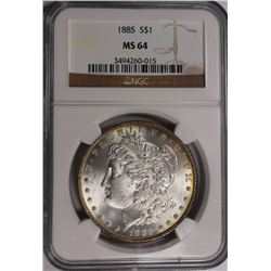 1885 MORGAN SILVER DOLLAR NGC MS 64 1885 MORGAN SILVER DOLLAR NGC MS 64. WHITE! ESTIMATE: $90-$120