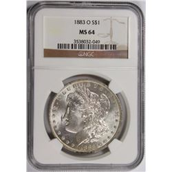 1883-O MORGAN SILVER DOLLAR NGC MS64 WHITE 1883-O MORGAN SILVER DOLLAR NGC MS 64 WHITE. ESTIMATE: $8