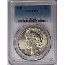 1928 PEACE SILVER DOLLAR PCGS MS 61 1928 PEACE SILVER DOLLAR PCGS MS 61. NICE KEY COIN. ESTIMATE: $5