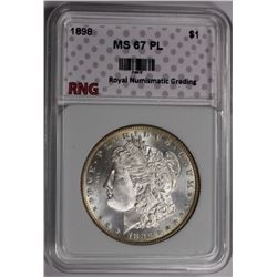 1898 MORGAN RNG GRADED SUPERB BU PL 1898 MORGAN SILVER DOLLAR RNG GRADED SUPERB BUPL. VERY SCARCE. S