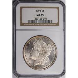 1879-S MORGAN SILVER DOLLAR NGC MS65 GEM 1879-S MORGAN SILVER DOLLAR NGC MS65 GEM WHITE. ESTIMATE: $