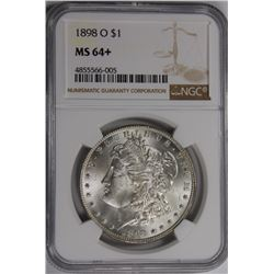 1898-O MORGAN SILVER DOLLAR NGC MS64+ WHITE! 1898-O MORGAN SILVER DOLLAR NGC MS64+ WHITE! ESTIMATE: