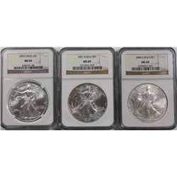 NGC GRADED MS 69 EAGLES: 2000, 2001 AND 2002 NGC GRADED MS69 AMERICAN SILVER EAGLES: 2000, 2001 AND