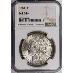 1887 MORGAN SILVER DOLLAR NGC MS64+ WHITE 1887 MORGAN SILVER DOLLAR NGC MS64+. WHITE. ESTIMATE: $90-