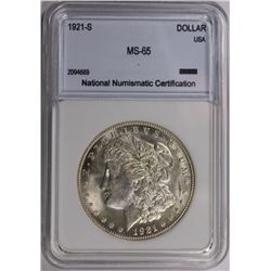 1921-S MORGAN SILVER DOLLAR NNC GRADED GEM BU 1921-S MORGAN SILVER DOLLAR NNC GRADED GEM BU. WHITE.