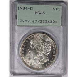 1904-O MORGAN SILVER DOLLAR PCGS MS 63 1904-O MORGAN SILVER DOLLAR PCGS MS 63. RATTLER HOLDER. LOOKS