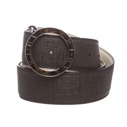 Bvlgari Black Gray Coated Canvas Leather Belt