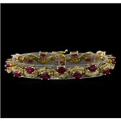 7.74 ctw Ruby and Diamond Bracelet - 14KT Yellow Gold