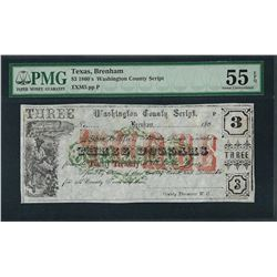 1860's $3 Washington County Script Note PMG About Uncirculated 55EPQ