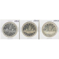 Lot of (3) 1953 $1 Canada Silver Dollar Coins