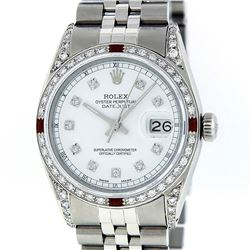 Rolex Mens Stainless Steel Diamond Lugs & Ruby Datejust Wristwatch