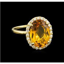 4.57 ctw Citrine and Diamond Ring - 14KT Yellow Gold