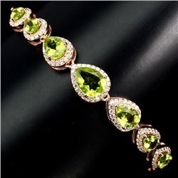 Natural 8x6mm Rich Green 49.73 Ct Peridot Bracelet