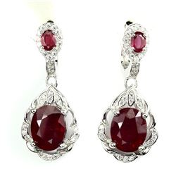 Genuine Top Blood Red Ruby Earrings