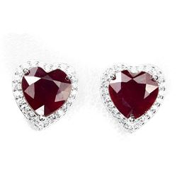 Natural Vivid  Blood Red Ruby Hearts Earrings