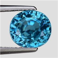 Natural Top Electric Blue Zircon 3.12 Ct{Flawless-VVS1}