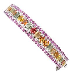 Natural Top Fancy Colors Sapphire & Ruby Bangle