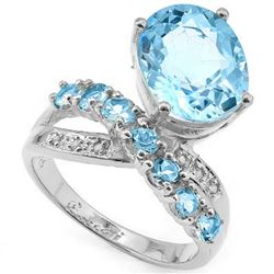 Natural Sky Blue Topaz & Diamond Ring