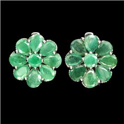 Natural Columbian  Green Emerald Earrings