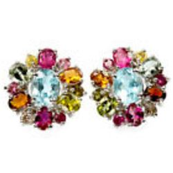 Natural SKY BLUE TOPAZ & MULTI COLOR TOURMALINE Earring