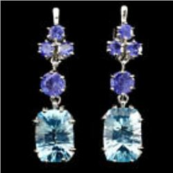 Natural 14x10mm Sky Blue Topaz Tanzanite Earrings