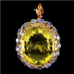 Natural  68.7ct Lemon Quartz Sapphire Tanzanite Pendant