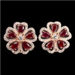 Natural Pear Cut 6x4mm Top Blood Red Ruby Earrings