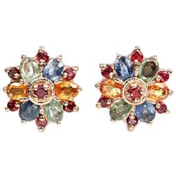 Natural MULTI COLOR SAPPHIRE & RED RUBY Earrings