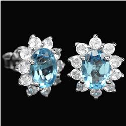 Natural 12x10 MM GENUINE AAA SWISS BLUE TOPAZ earrings