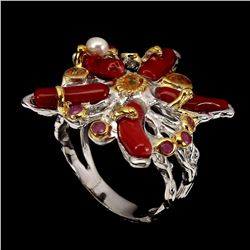 Natural Top Red Coral Ruby Sapphire Pearl Ring