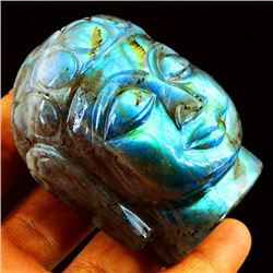 RARE NATURAL 960 CT HAND CARVED  LABRADORITE BUDDAH.