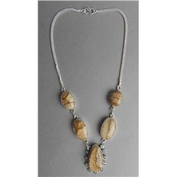 IMPRESSIVE 75.75 CT MOSAIC JASPER NECKLACE