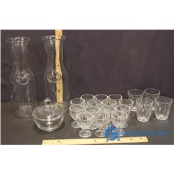Lot of Glass Vases, Cups and Egg Cups