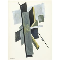 Latvian Suprematism Gouache Signed Klutsis
