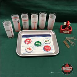 "Coca Cola Tray with CN Tower Tumblers & Coca Cola S&P Set & Coca Cola ""You Pay"" Table Spinner"