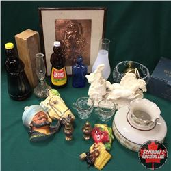 Box Lot: Coal Oil Lamps, Framed Copper Art, Décor Statues, Crystal Bowl, Cossak Marauder Head, etc