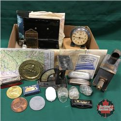 Box Lot: Antique Candle Light Projector, Harmonica's, Maps, Postal Scale, Match Stick Holder, etc