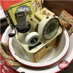 White & Red Enamelware with Household Scale, Match Stick Holder, Ephemera, Claytoon Slides, Timer, e