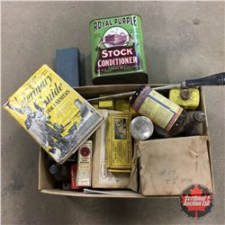 Box Lot: Vintage Vet / Barn Medicine Items + Royal Purple Stock Conditioner Tin