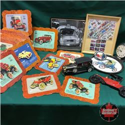 "Tray Lot: Nice Collection of ""Old Timers"" Perfect Circle 3D Mounted Vintage Classic Car (Cardboards"
