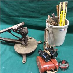 Small Crock with Small Game Traps, Binoculars, Gun Cleaning Rods & Skeet Shooter