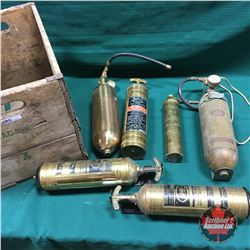 Ginger Ale Wood Box Lot: 6 Brass Fire Extinguishers