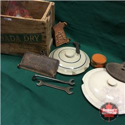 Canada Dry Wood Box Lot: Crock Lids, Implement Tool Box Lids, Tools, Hard Oil Tin, etc