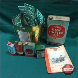 Tumbler Soap Pail Lot: Lic Plates, Linseed Oil Tin, Polish Tins, Brake Fluid, Massey Manual, etc
