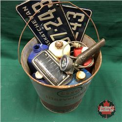 Esso Grease Pail Lot: Lic Plates, Temp Gauge, Oil Jar Spout, Car Ashtray, 2 Stroke Oil Jugs