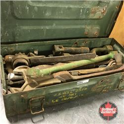 Military Ammo Box with Variety of Antique Wrenches & Tools