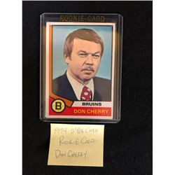 1974-75 OPC #161 DON CHERRY ROOKIE CARD