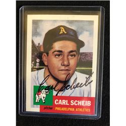 1954 TOPPS CARL SCHEIB AUTOGRAPHED BASEBALL CARD