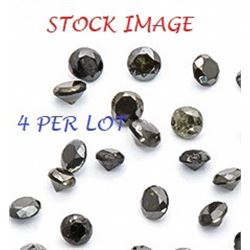GEMSTONE - 4 GENUINE BLACK DIAMONDS - .025CTW - BRILIANT ROUND FACETED -  PREMIUM JET BLACK - 0.9mm
